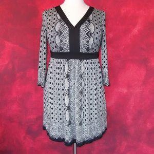 Eci Black White Tie Back Geo Print Dress Size XL